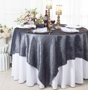 "85"" Square Crushed Taffeta Table Overlay - Pewter /  Charcoal 61560(1pc/pk)"