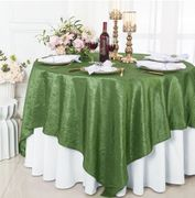 "85"" Square Crushed Taffeta Table Overlay - Clover Green 61548(1pc/pk)"