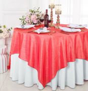"85"" Square Crushed Taffeta Table Overlay - Coral 61506(1pc/pk)"