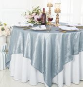 "85"" Square Crushed Taffeta Table Overlay - Dusty Blue 61503(1pc/pk)"