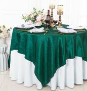 "85"" Square Crushed Taffeta Table Overlay - Hunter Green / Holly Green 61519(1pc/pk)"