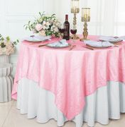 "85"" Square Crushed Taffeta Table Overlay - Pink 61505(1pc/pk)"