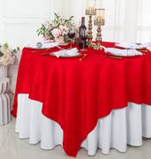 "85"" Square Crushed Taffeta Table Overlay - Red 61512 (1pc/pk)"