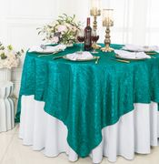 "85"" Square Crushed Taffeta Table Overlays/ Table Cloths (33 colors)"