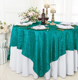 """85"""" Square Crushed Taffeta Table Overlays/ Table Cloths (33 colors)"""