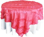 "85"" Square Forest Taffeta Table Overlays- Coral 67506(1pc/pk)"