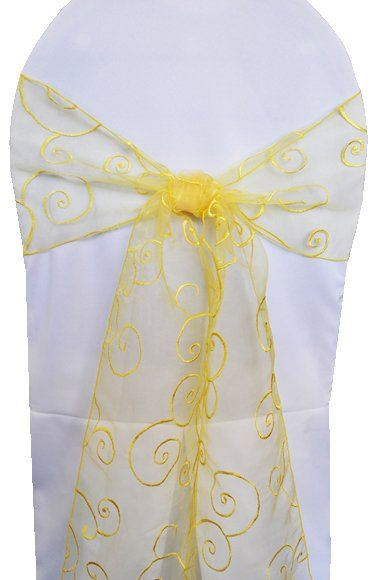 8x108 Embroidered Organza Chair Sash - Canary Yellow 90516(10pcs/pk)