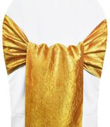 "9.5""x108"" Crushed Taffeta Chair Sashes - Gold 61127(10pcs/pk)"