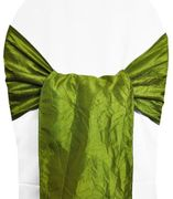 "9.5""x108"" Crushed Taffeta Chair Sashes - Moss Green 61117(10pcs/pk)"