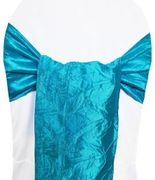 "9.5""x108"" Crushed Taffeta Chair Sashes - Turquoise 61185(10pcs/pk)"