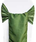 "9.5""x108"" Crushed Taffeta Chair Sashes - Clover Green 61148(10pcs/pk)"