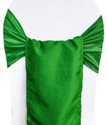 "9.5""x108"" Crushed Taffeta Chair Sashes - Emerald Green 61138 (10pcs/pk)"
