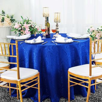 """90"""" Marquis Round Jacquard Damask Polyester Tablecloths (12 colors)"""