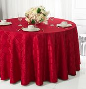 """90"""" Plaid Round Jacquard Polyester Tablecloths - Apple Red 87308 (1pc/pk)"""