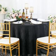 "90"" Plaid Round Jacquard Polyester Tablecloths - Black 87339 (1pc/pk)"