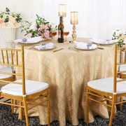 """90"""" Plaid Round Jacquard Polyester Tablecloths - Champagne 87328(1pc/pk)"""