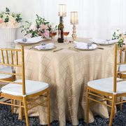 "90"" Plaid Round Jacquard Polyester Tablecloths - Champagne 87328(1pc/pk)"