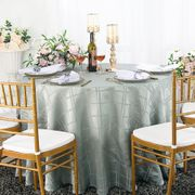 "90"" Round Plaid Jacquard Polyester Tablecloths - Silver 87340(1pc/pk)"
