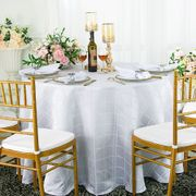 "90"" Plaid Round Jacquard Polyester Tablecloths - White 87301 (1pc/pk)"