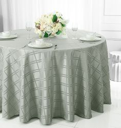 """90"""" Round Plaid Polyester Tablecloths (6 colors)"""