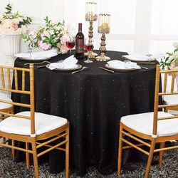 "90"" Round Paillette Poly Flax / Burlap Tablecloth - Black 10639 (1pc/pk)"