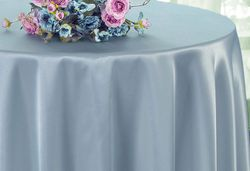 "90"" Round Satin Table Overlay - Dusty Blue 55503 (1pc/pk)"