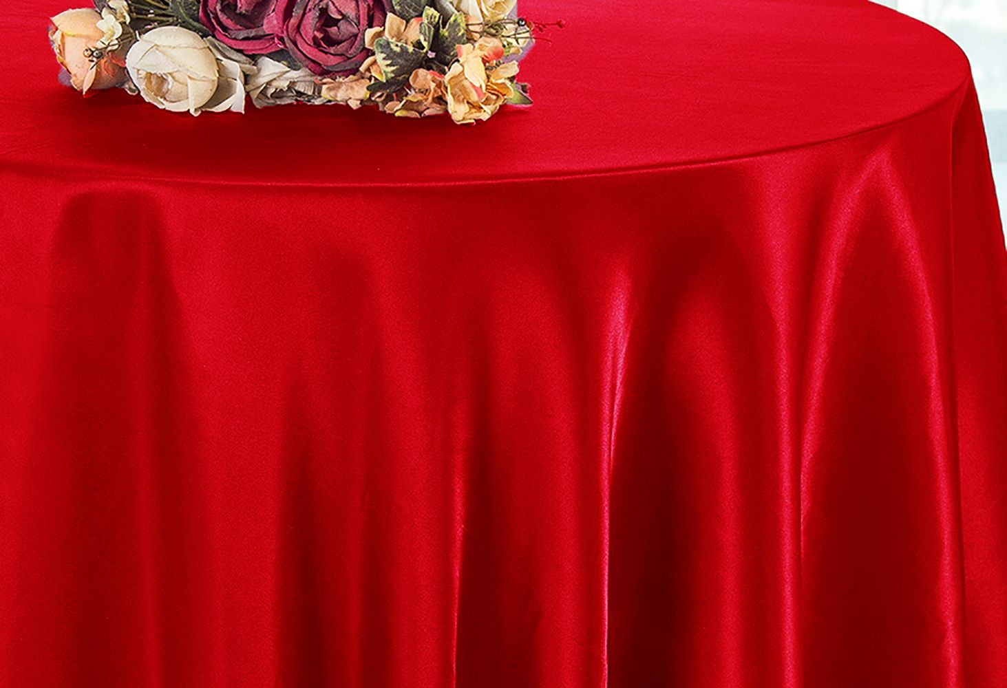 90 Inch Red Satin Tablecloths Table
