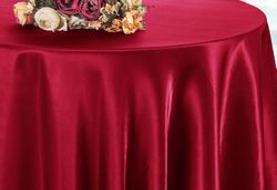 "90"" Round Satin Table Overlay  - Apple Red 55508(1pc/pk)"