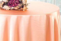 "90"" Round Satin Table Overlay - Apricot / Peach 55531(1pc/pk)"