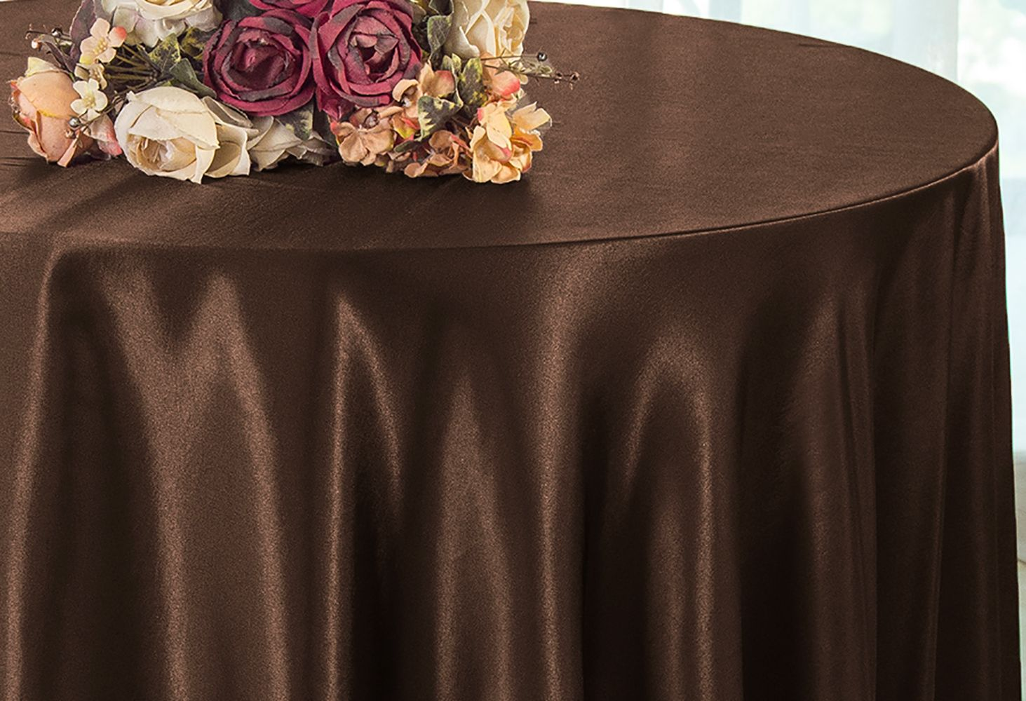 Round Table Overlays.Satin Round Table Overlays Toppers Chocolate