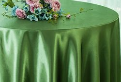 "90"" Round Satin Table Overlay - Clover Green 55548(1pc/pk)"