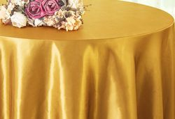 "90"" Round Satin Table Overlay - Gold 55527(1pc/pk)"