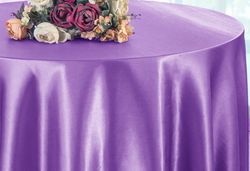 "90"" Round Satin Table Overlay - Victoria Lilac 55553(1pc/pk)"