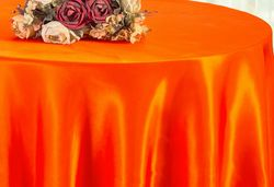 "90"" Round Satin Table Overlay - Orange 55533(1pc/pk)"