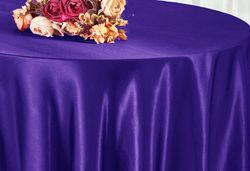 "90"" Round Satin Table Overlay - Regency Purple 55563(1pc/pk)"