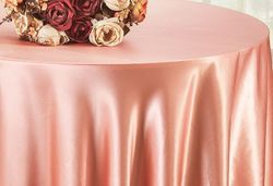 "90"" Round Satin Table Overlay - Rose Pink 55507(1pc/pk)"