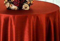 "90"" Round Satin Table Overlay - Rust 55547(1pc/pk)"