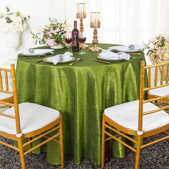 """90"""" Round Seamless Crushed Taffeta Tablecloths (33 Colors)"""