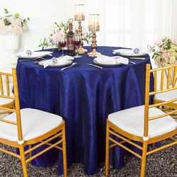 "90"" Seamless Round Crushed Taffeta Tablecloth - Navy Blue 61623(1pc/pk)"