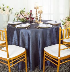 """90"""" Seamless Round Crushed Taffeta Tablecloth - Pewter / Charcoal 61660(1pc/pk)"""