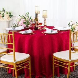 "90"" Floral Round Jacquard Damask Polyester Tablecloths (14 colors)"