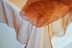 """90"""" Seamless Round Organza Table Overlay Topper - Copper 55041(1pc/pk)"""