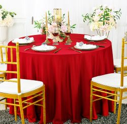 "90"" Seamless Round Scuba (Wrinkle-Free) Tablecloth - Red 20412 (1pc/pk)"