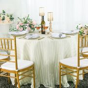 """90"""" Striped Round Jacquard Polyester Tablecloths - Ivory 86302 (1pc/pk)"""