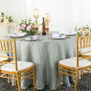 """90"""" Striped Round Jacquard Polyester Tablecloths - Silver 86340 (1pc/pk)"""