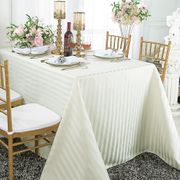 """90""""x 132"""" Rectangular Striped Banquet Jacquard Polyester Tablecloths (7 colors)"""