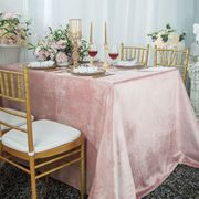 "90"" x 132"" Rectangular Seamless Italian Velvet Tablecloth - Blush Pink 25515 (1pc / pk)"
