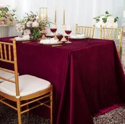 "90"" x 132"" Rectangular Seamless Italian Velvet Tablecloth - Burgundy 25510 (1pc / pk)"