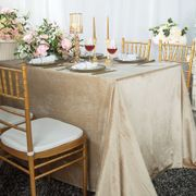 "90"" x 132"" Rectangular Seamless Italian Velvet Tablecloth - Champagne 25528 (1pc / pk)"