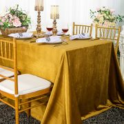 "90"" x 132"" Rectangular Seamless Italian Velvet Tablecloth - Gold 25527 (1pc / pk)"